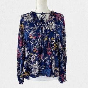 Lush Floral Blouse With Tassels